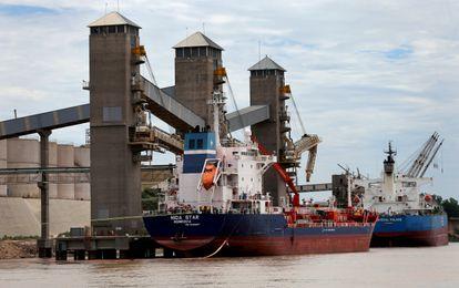 Terminal portuaria de carga en las cercanías de Rosario.