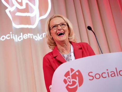 La candidata socialdemócrata en Suecia, Helene Fritzon, tras conocer los resultados en Estocolmo el 26 de mayo de 2019.