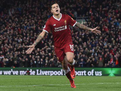 Coutinho celebra un gol con el Liverpool.