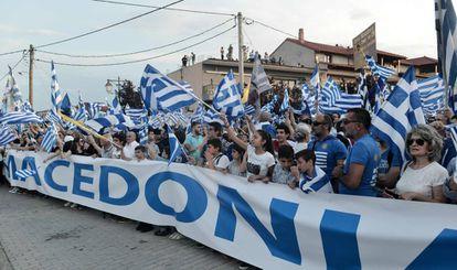 Manifestación contra el uso del nombre Macedonia por Skopje, el pasado miércoles en la ciudad griega de Pella.