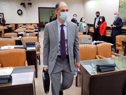 Manuel Morocho, inspector jefe de la Policía Nacional, a su llegada a la comisión del Congreso que investiga la Operación Kitchen, el pasado marzo.