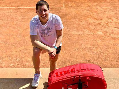 Carla Suárez, durante un entrenamiento reciente. / @CARLASUAREZNAVA