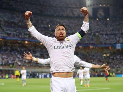 Sergio Ramos celebra su gol.