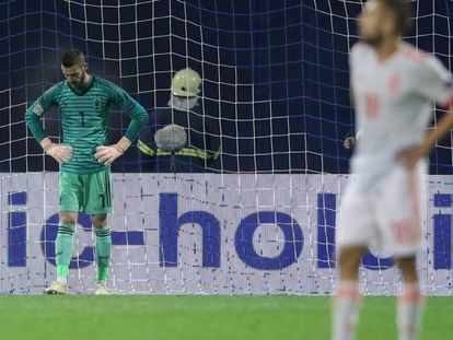 De Gea durante el partido de España en Zagreb.