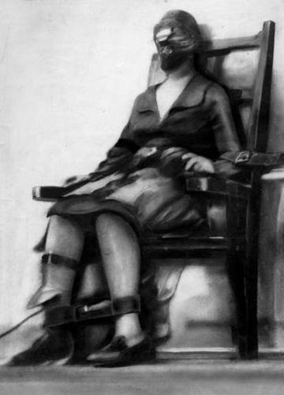 Ruth Snyder, en la silla eléctrica, en 1928.