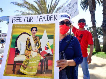 Llamamiento a Naciones Unidas para que actúe en defensa de Myanmar en California el pasado 10 de abril.