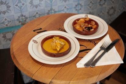 Cazuelita de gallina en pepitoria y de callos en Casa Ciriaco.