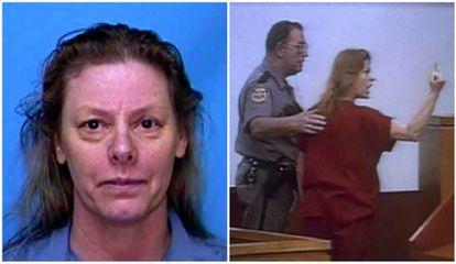 Aileen Wuornos, en una foto policial (izquierda) y  en una de sus comparecencias judiciales.