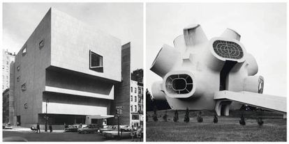 A la izquierda, Whitney Museum of American Art, Nueva York (Marcel Breuer, 1966). A la derecha, Monumento Llinden en Krushevo, Macedonia (Jordan e Iskra Grabuloski, 1974).
