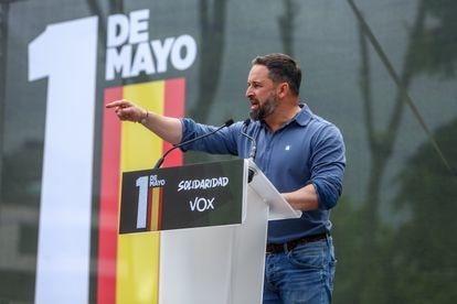 El líder de Vox, Santiago Abascal, en el acto del sindidato ultra Solidaridad con motivo del 1º de Mayo.