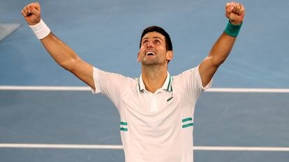 Djokovic, tras ganar la final del pasado Open de Australia. / LOREN ELLIOTT (REUTERS)