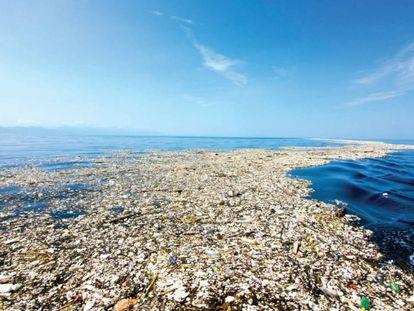 Isla de desechos plásticos en el Caribe