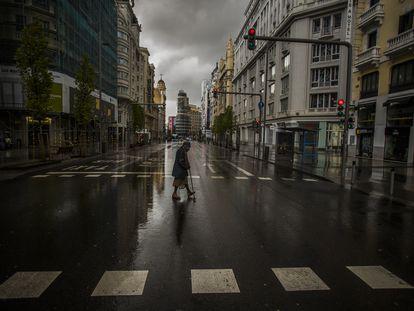 La Gran Vía de Madrid, vacía durante el estado de alarma por el coronavirus.