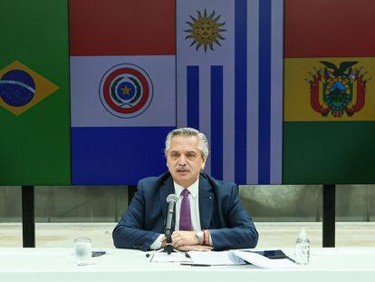El presidente de Argentina, Alberto Fernández, durante la cumbre de Mercosur, este viernes.