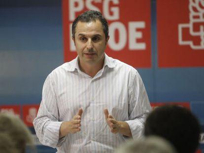 Manel Vázquez, en un acto este lunes en Ribeira