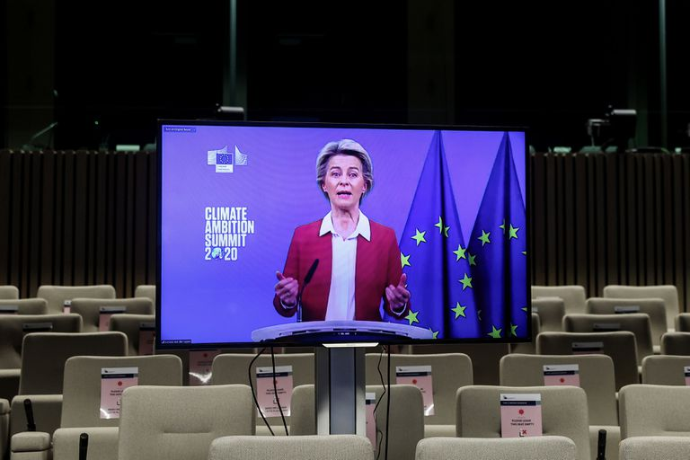 The president of the European Commission, Ursula von der Leyen, during her speech from Brussels at the summit this Saturday.