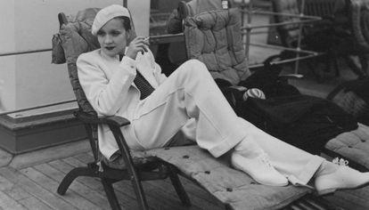 Marlene Dietrich, a bordo del transatlántico Europa.