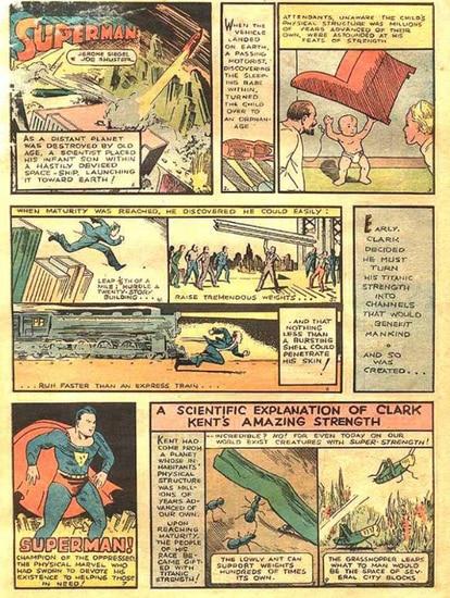 La primera página de la historieta debut de Superman explica el origen del personaje sin nombrar Kripton.