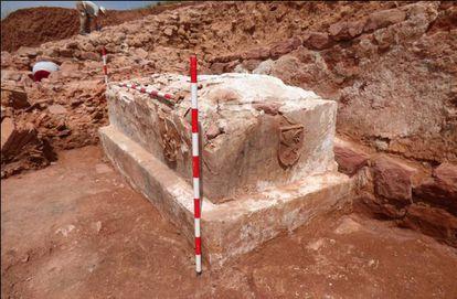 Sepulcro de los Los Leones hallado durante las excavaciones en Montiel.