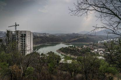 Vista panorámica de la represa Madín, en el estado de México, este martes.