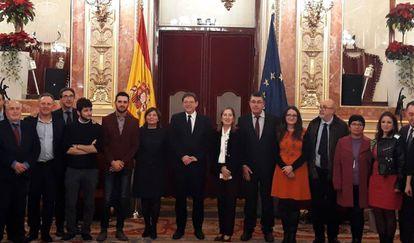 La delegación valenciana, con el presidente Ximo Puig al frente, en el Congreso el mismo día que se ha aprobado la reforma del Estatuto valenciano.