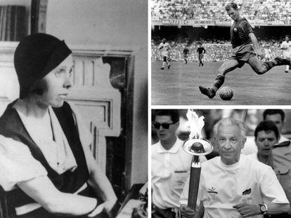 La periodista Irene Polo en 1934; Ladislao Kubala, con el Barça, en 1958, y Juan Antonio Samaranch, durante el recorrido de la antorcha olímpica previo las Olimpiadas de 1992.