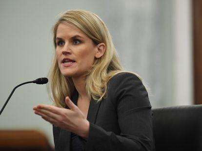 Frances Haugen, en su comparecencia ante el subcomité del Senado de EE UU del 5 de octubre.