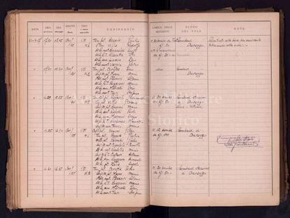 Diario secreto con el listado de los pilotos italianos que participaron en el bombardeo de Durango en 1937.