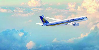 Airbus A350-900 de Singapore Airlines, con el que cubre la ruta entre Singapur a Nueva York.