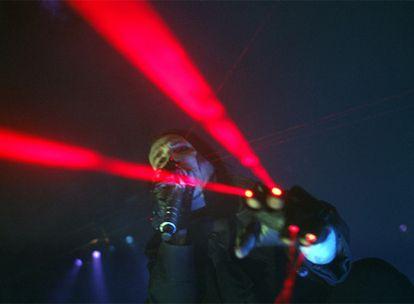 Marilyn Manson, durante su actuación de anoche en el Palacio de los Deportes.