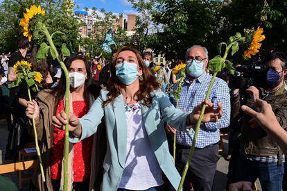 Mónica García, durante el acto de cierre de campaña.