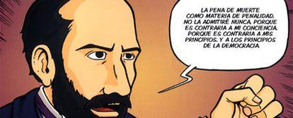 Una viñeta de la biografía-cómic <i>Nicolás Salmerón</i>, <b>de la que son autores la historiadora María Carmen Amate y el dibujante J. M. Beltrán.</b>