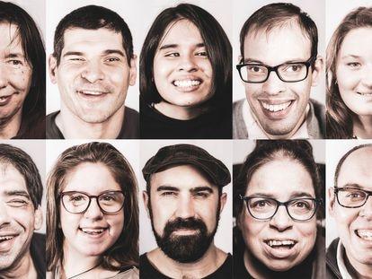 "Composición de retratos de la muestra titulada ""Unha mirada a diversidade"" que el fotoperiodista de EL PAIS, Óscar Corral expone en las calles de A Coruña"