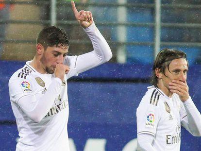 Fede Valverde celebra su gol al Eibar