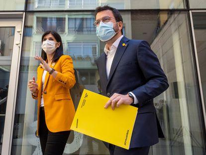 El presidente de la Generalitat en funciones, Pere Aragonès, este sábado.