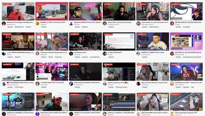 Una captura de 24 canales en directo en Twitch con unas docenas de espectadores. La imagen está tomada el 5 de abril.