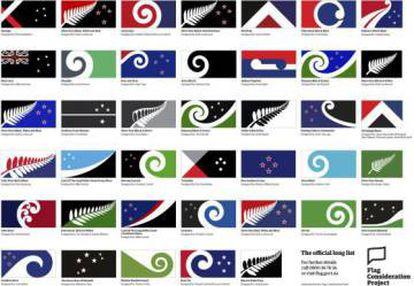 Varias propuestas para la nueva bandera de Nueva Zelanda en el referéndum de 2016.