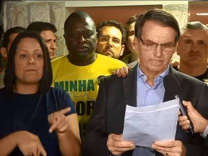 Bolsonaro, poco después de proclamarse ganador.