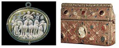 Camafeo llamado <i>El triunfo de Licinio,</i> siglo IV, de la Biblioteca Nacional de Francia (izquierda) y cofre de Teodorico, año 654-56, de oro, pasta de cristal y camafeos.