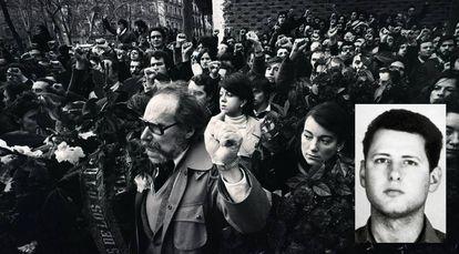 Marcha tras la matanza de los abogados de Atocha. García Juliá, en miniatura.