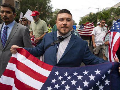 Jason Kessler, el organizador de la protesta del año pasado en Charlottesville y del domingo en Washington.