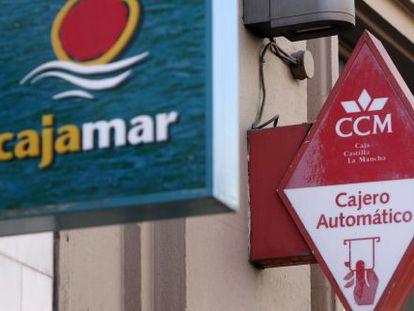 Sucursales de Cajamar y Caja Castilla La Mancha en Madrid.