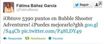 Pantallazo del tuit aparecido en la cuenta de Fátima Báñez.