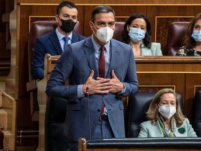 Pedro Sánchez interviene este miércoles desde su escaño en la sesión de control al Gobierno.