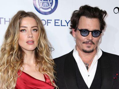 Johnny Depp y Amber Heard en una gala en Culver City, California, el 9 de enero de 2016.