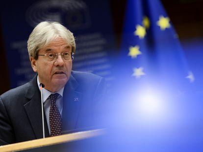 El comisario de Economía, Paolo Gentiloni, durante una intervención en el Parlamento Europeo.