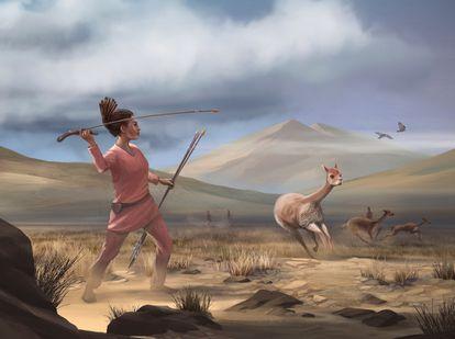 La ilustración muestra a una cazadora andina con su atlatl, un lanzavenablos anterior a la aparición del arco y la flecha.
