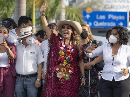 Evelyn Salgado celebra en Acapulco el virtual triunfo de Morena en Guerrero, que la convertirá en la primera gobernadora del Estado.