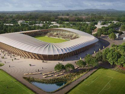 El Eco Park, que albergará al equipo Forest Green Rovers de la Cuarta División de Inglaterra, será el primer estadio de madera del mundo