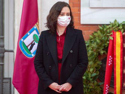 La presidenta de la Comunidad de Madrid, Isabel Díaz Ayuso, durante el acto a las víctimas de los atentados del 11 de marzo en Madrid, en la Real Casa de Correos,